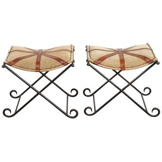 Pair of Campaign Style Stools