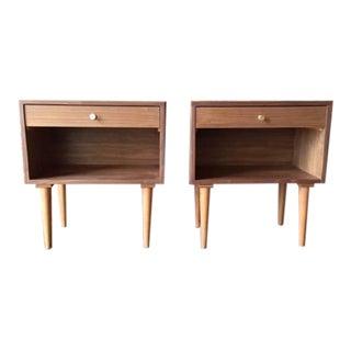 Custom Mid-Century Style Walnut & Brass Nightstands - A Pair