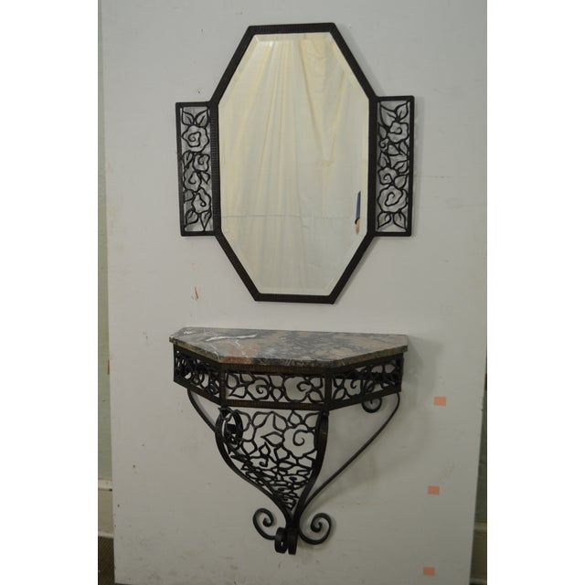 Art Deco Oscar Bach Style Iron Marble Top Wall Console w/ Mirror - Image 2 of 10