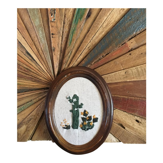 Image of Framed Boho Chic Cactus Embroidery