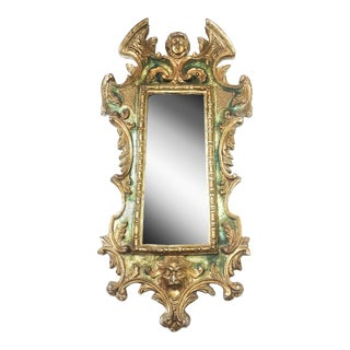 Antique Italian Gilt Hand Carved and Hand Painted Wood Mirror
