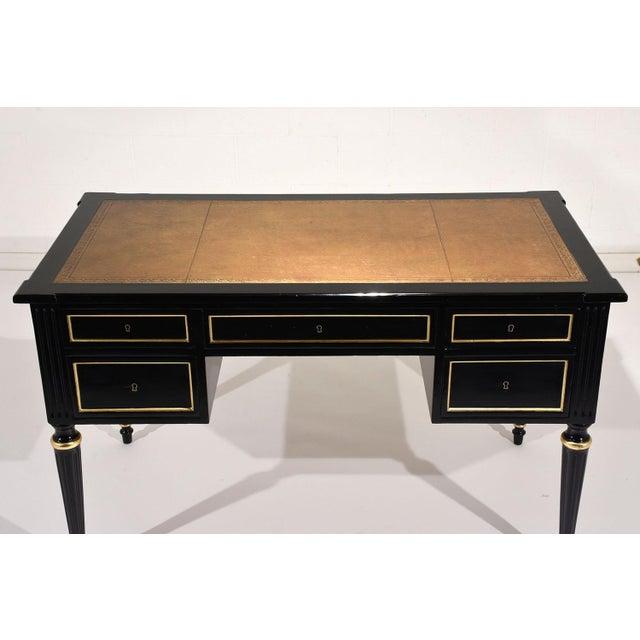 French Louis XVI-style Ebonized Desk - Image 4 of 10