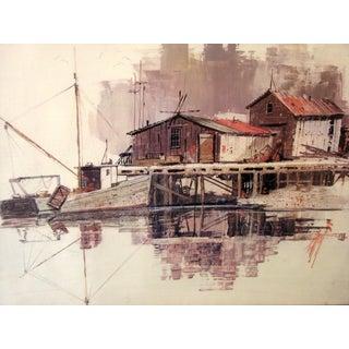 Shipyard Watercolor Print, Signed Elliott