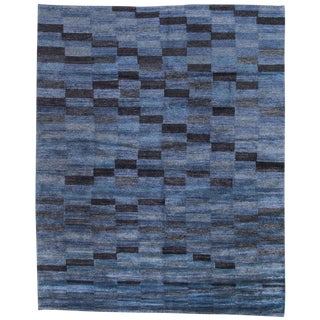 Geometric Blue on Blue Bamboo Silk Tibetan Area Rug - 8' X 10'