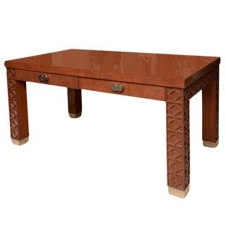 Rosewood Lacquered Wood and Nickel Silver Desk