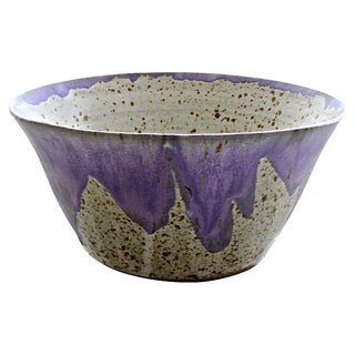 Signed Stoneware Lilac Bowl