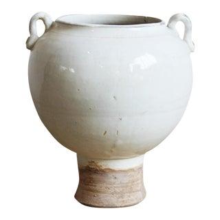 Ceramic Pedestal Milk White Pottery Vase