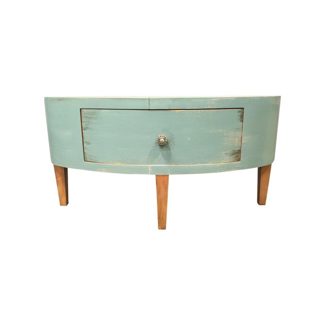 Shabby Chic Round Wood Coffee Table: Distressed Shabby Chic Round Coffee Table
