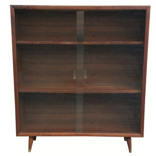 Mid-Century Glass Front Bookcase