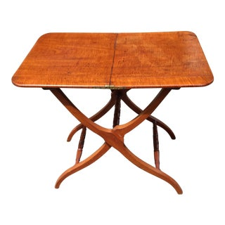 Antique Folding Butler Tiger Maple Table