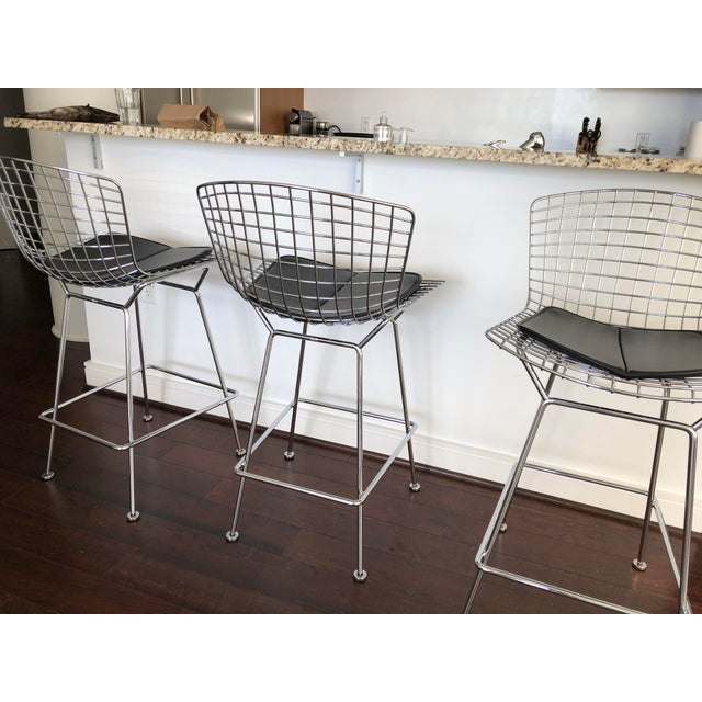 Bertoia Counter Stools With Seat Pads - Set of 3 - Image 10 of 11