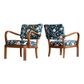 Fritz Hansen attributed 1940's Art Deco Danish Open Armchairs