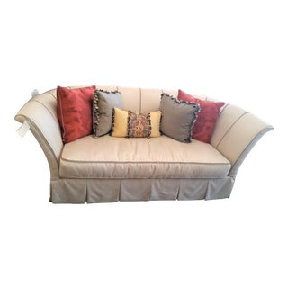 Henredon Beige Sofa With Skirt & Pillows