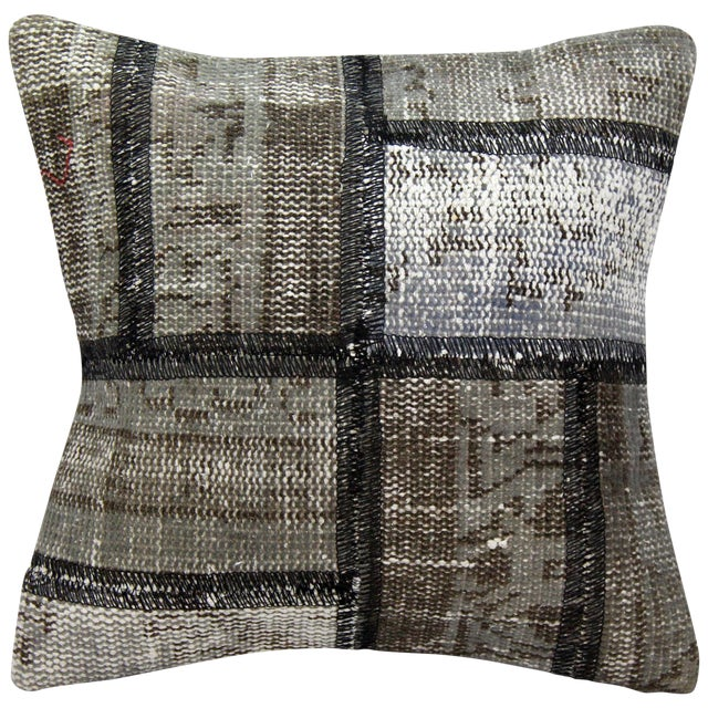 Turkish Handmade Gray Kilim Pillow - Image 1 of 5