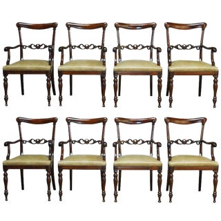 Regency Mahogany and Leather Dining Armchairs - Set of 8