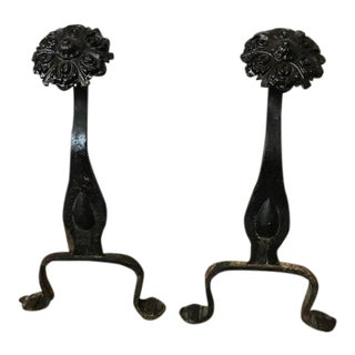 Black Flower Finial Andirons