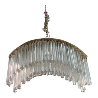 Brass & Glass Venini Murano Chandelier