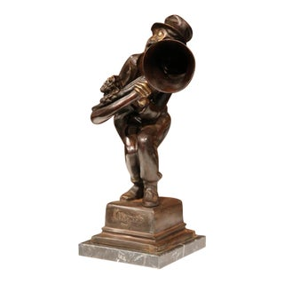 19th Century Italian Bronze Jazz Trumpet Player