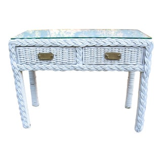 Vintage Wicker Console Table