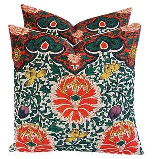 Custom Lotus Blossom Floral Linen Pillows - a Pair