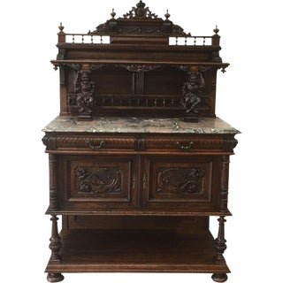 French Antique Oak Server Sideboard Buffet With Marble Top