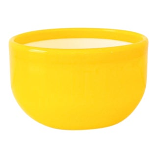 Mid Century Decorative Yellow Glass Bowl with White Interior