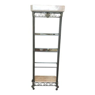 Maitland Smith Style Metal & Tessellated Marble Shelving Unit