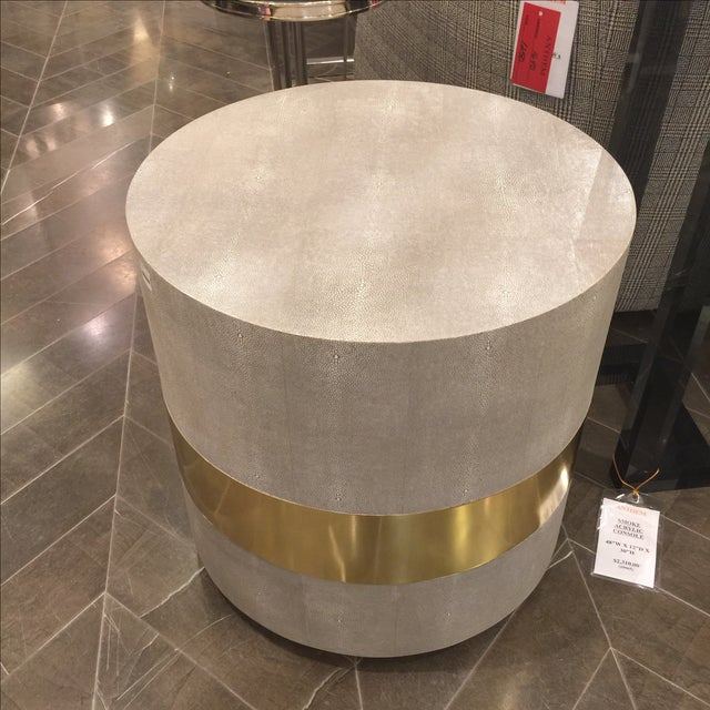 Made Goods Brass Banding Shagreen Side Table - Image 2 of 8