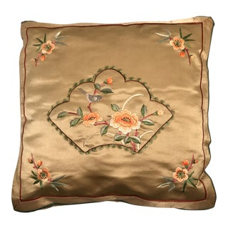 Square Silk Embroidered Chinoiserie Pillow