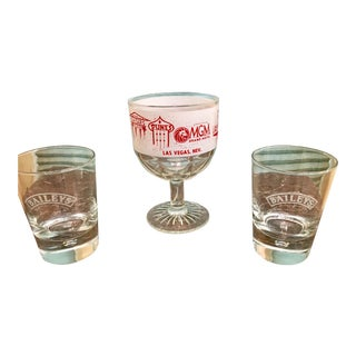 Vintage Las Vegas Cup & Two Bailey's Tumbler Glasses- Set of 3