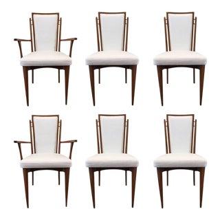 Set of Six Walnut Italian Dining Chairs