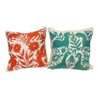 Orange & Turquoise Animal Motif Mexican Otomi Pillows - A Pair