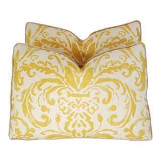 Designer Gold & Ivory Linen & Silk Feather/Down Pillows - A Pair