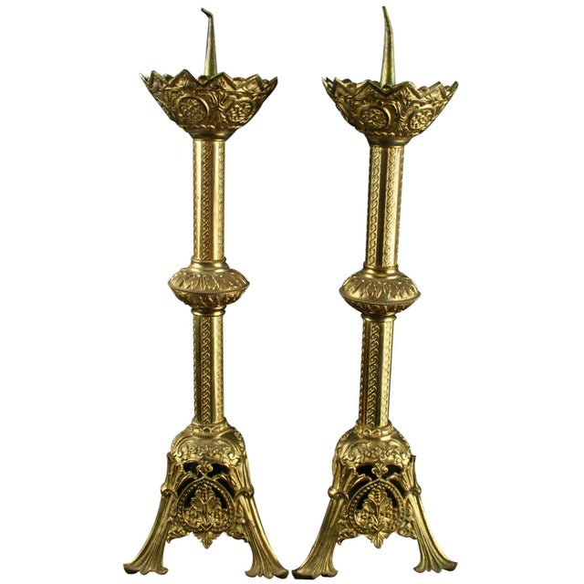 Image of Antique French Altar Candlesticks - A Pair