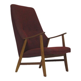 Mid-Century Teak Highback Lounge Chair in Red