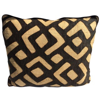Designer Kuba Cloth & Italian Leather Pillow
