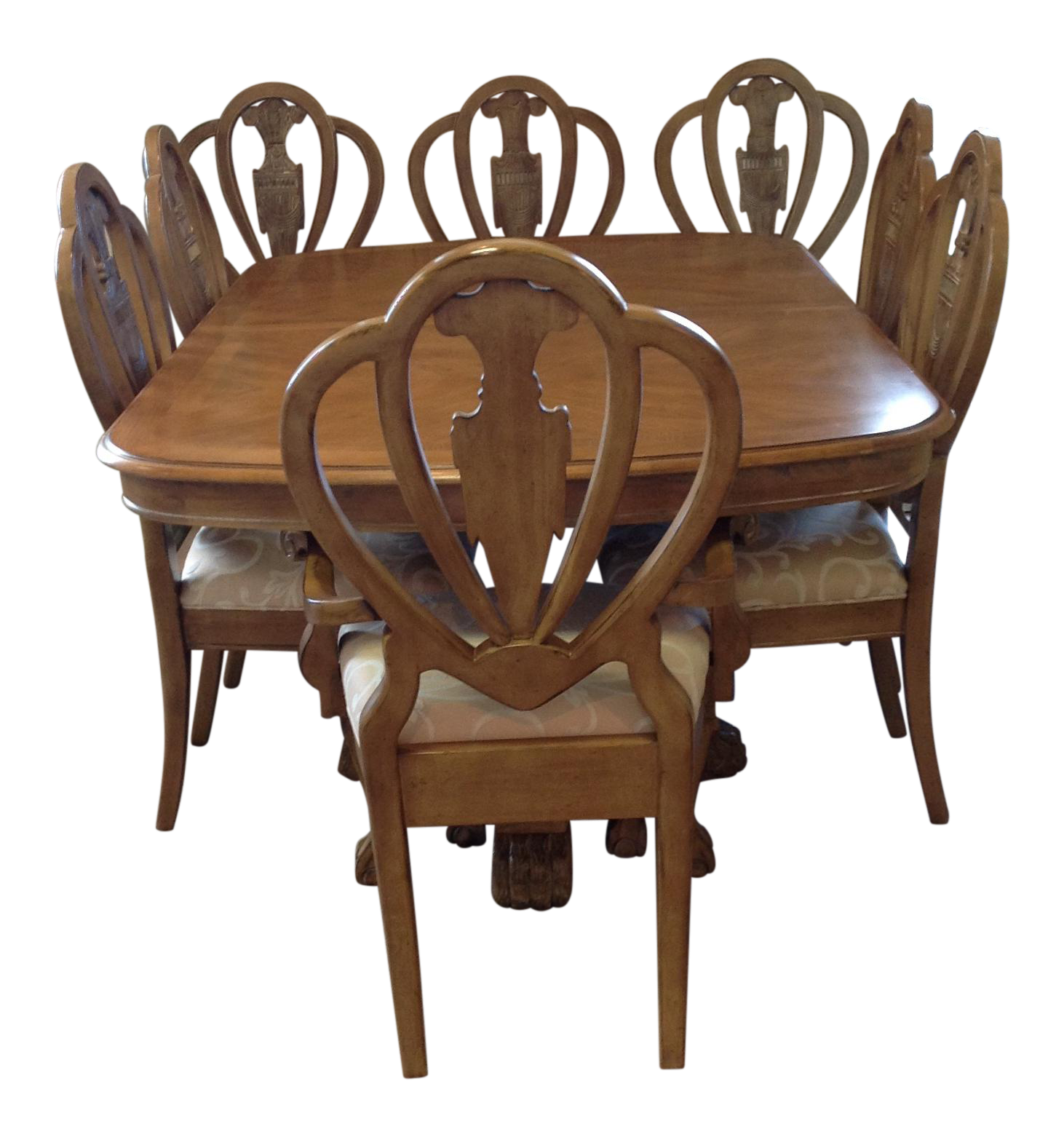 Lexington Wood Dining Room Table With Two Leaves U0026 Chairs   Dining Set