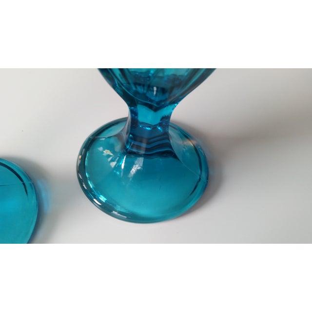 Vintage Teal Blue Glass Sundae Glasse - Pair - Image 4 of 4
