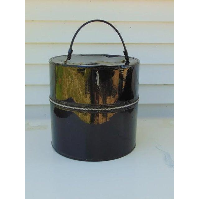 Mid-Century Modern Black Round Hat Box - Image 2 of 6