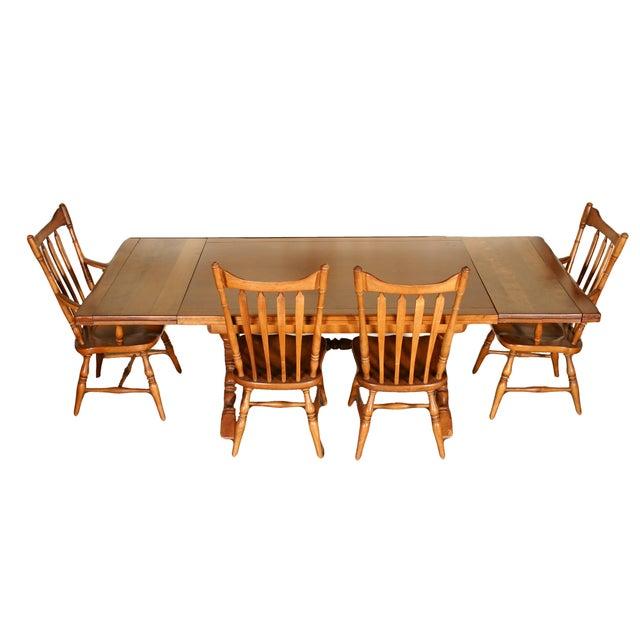 Cushman Farm Style Trestle Dining Set - Set of 5 - Image 4 of 7
