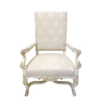 Pair of 19th Century French Louis XV Carved Painted Armchairs With Fleur-De-Lys Fabric