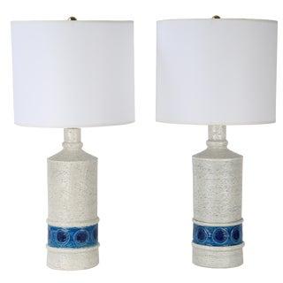 Pair of 1959 Aldo Londi for Bitossi white and blue ceramic lamps