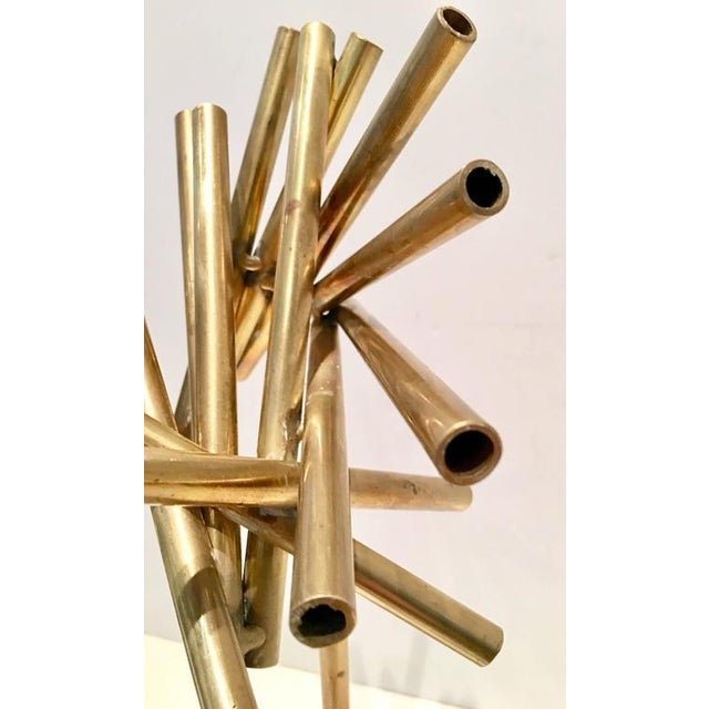 Modern Brass & Marble Abstract Tubular Sticks Sculpture - Image 8 of 9