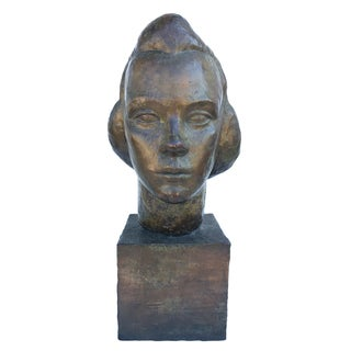 1940s Vintage Art Deco Head of a Woman Bronze Clad Sculpture