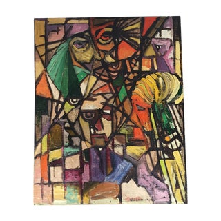 Vintage Abstract Signed Cubist Painting Cubism