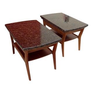 Mersman Mid-Century Walnut & Stone Coffee Tables - a Pair