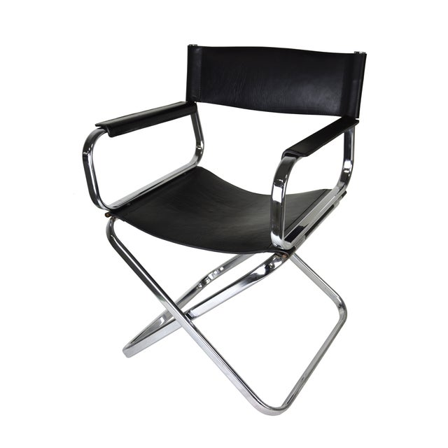 Italian Leather And Chrome Director's Chair - Image 1 of 5