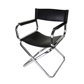 Italian Leather And Chrome Director's Chair