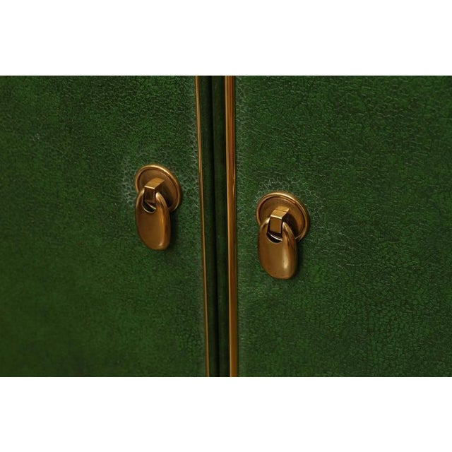 Signed Mastercraft Hollywood Glam Lacquered Brass and Emerald Leather Cabinet - Image 3 of 5