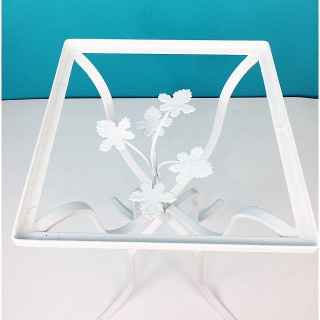 Image of Vintage Wrought Iron Ivy Leaves Patio Plant Stand Table